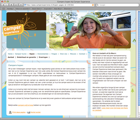 Camper Experience website